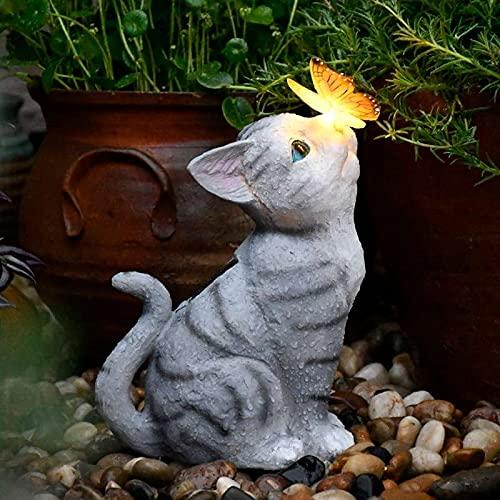 Garten Deko Katze Gartendeko Schmetterlinge Deko Solarlampen für Außen Balkon Gartendekoration Innenhof Layout niedlichen Katze Top Schmetterling Ornamente Harz Solarleuchten im Freien kreative Tiere