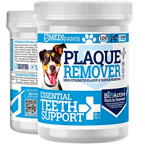 MediPaws Plaque Off Dogs 100g | Just Add To Dog Food - No Need For Dog Toothbrush or Dog Toothpaste | 100% Natural Organic Seaweed | Remove Dog Bad Breath & Plaque Off For Dogs, Cats & Pets