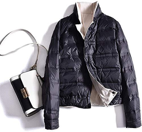 SDGDFGD Chaqueta Plumifero Chaqueta de Mujer Abrigos de Invierno Negro Soporte Corto Cuello Abajo Chaqueta a Prueba de Viento y Abrigo Abrigo para Caminar Viajar Tamaño de Senderismo: L