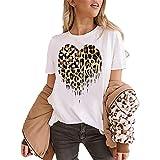 Blusa Mujer Cómodas Gafas De Cuello Redondo Patrón De Árbol De Coco Mujer Camisa con Estampado De Letras Casual Generoso Clásico Personalidad De Moda Elasticidad Mujer Top B-White M