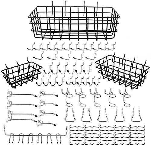 eletecpro 84PCS Pegboard Hooks Assortment 1 4 Inch with Pegboard Bins,Peg Board Attachments & Pegboard Basket Set for Tools,Peg Board Hook Organization Accessories Set