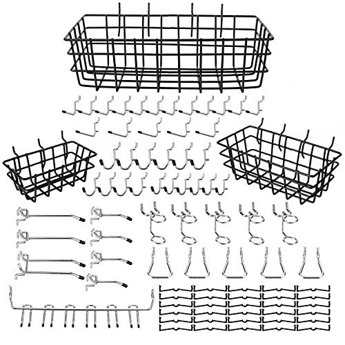 eletecpro 84PCS Pegboard Hooks Assortment 1/4 Inch with Pegboard Bins,Peg Board Attachments & Pegboard Basket Set for Tools,Peg Board Hook Organization Accessories Set