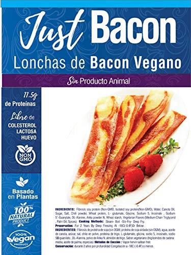 JUST VEGAN- LONCHAS DE BACON VEGANO 250g   100{79460da53e40dd6e6b2d8cc09d3ea6949eccf8eb72d82fdbb8adcba9ebe541fc} VEGETALES   Sin carne   Plant Based   Sin Gluten