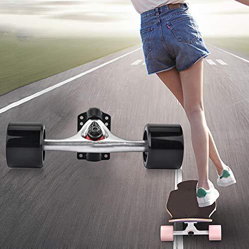 Liyeehao Piezas de monopatín, camión con Rueda de Skate, camión y Rueda de Skate, 2 Piezas/Juego Durable 9 rodamientos para recreación al Aire Libre(Silver Shaft Black Wheel)