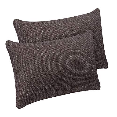 Selfitex 2er Set Kissenbezug, Dekokissen, Kissenhüllen ohne Füllung, Komfort-Polsterstoff mit Reißverschluss, für Sofa Couch Wohnzimmer, Kopfkissenbezug im Doppelpack (2X 40 x 60 cm, Braun)
