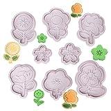 Olywee - Juego de 8 cortadores de galletas con flores para chocolate, diseño de flores en relieve, cortador de galletas de plástico 3D para decoración de tartas