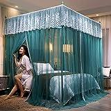 Ai xin Moskitonetz, Post Elegant Bed Vorhang Canopy Netting Bett-Überdachung Einfache Installation, eleganter Bed Canopy Vorhänge, grün-Stickerei-Spitze 4 Eckpfosten- Moskitonetz Bedding Décor