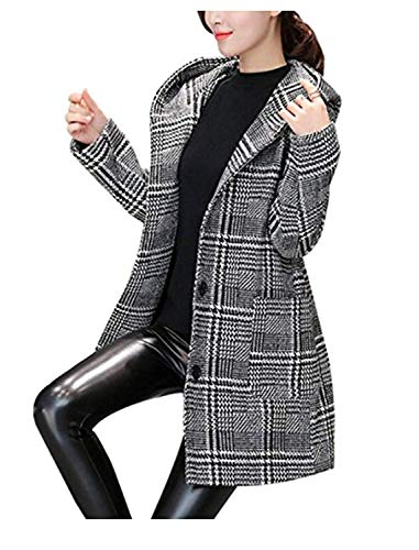 Femme Manteau De Transition Longue Élégant Classique À Carreaux Gaine A Capuche Vêtements Décontracté Fashion Tous Les Jours Slim Fit Long Manches Manteau De Laine Outerwear avec Poches