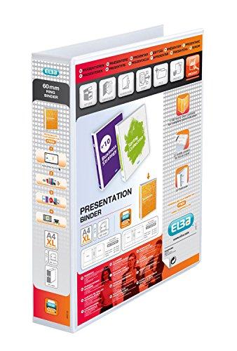Elba 400010477 Präsentations-Ringbuch Panorama mit 4 D-Ringen, 40 mm Breite, Einband aus robustem PP in Lederoptik, weiß