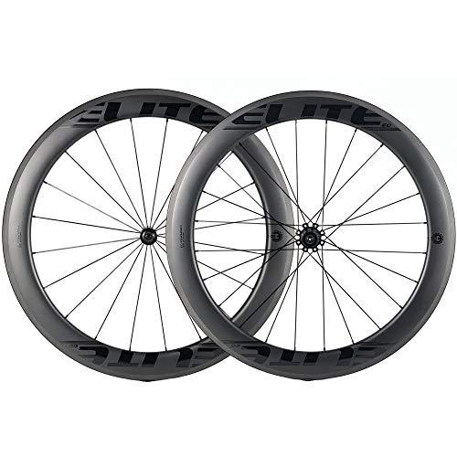 ELITEWHEELS 60mm Carbon Wheel Sets Road Bike 700C Wheelset Tubeless Ready Road Cycling Wheels 27mm Tubeless Compatible Clincher