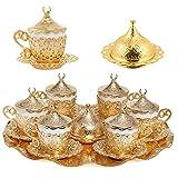 Alisveristime - Set di 27 piattini da caffè greco e arabo, colore: Oro