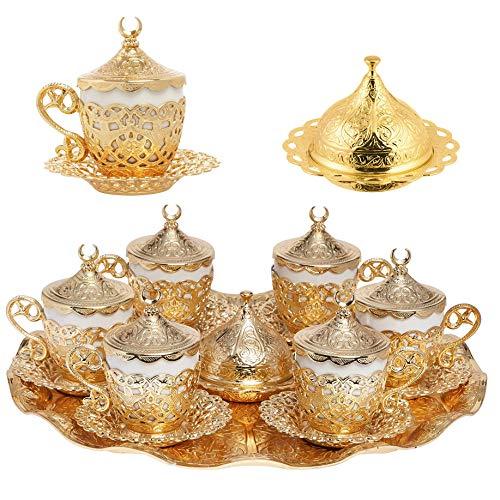Alisveristime 27PC Türkische Griechischen Arabische Kaffee Espresso Tasse Untertasse Set (Gelincik) Gold