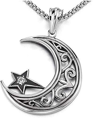 ZGYFJCH Co.,ltd Collar de Moda con Colgante de Estrella, Collar de Luna Creciente de Acero, circonita cúbica Tribal, Cadena de Trigo de 30 Pulgadas