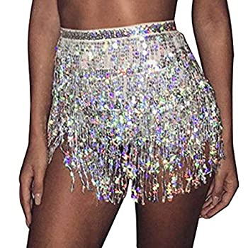 Kakaco HipSkirt Tassel Sequins Belly Dance Costume PartyRaveSkirts Fringe Hip Scarf for Women and Girls  A-Silver