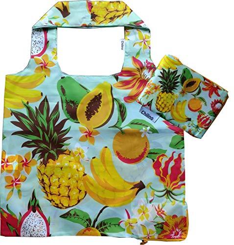 Chilino Faltbare Einkaufstasche, groß und stabil, umweltfreundlich, 100% Polyester, Früchte, blau, gelb, 47x41