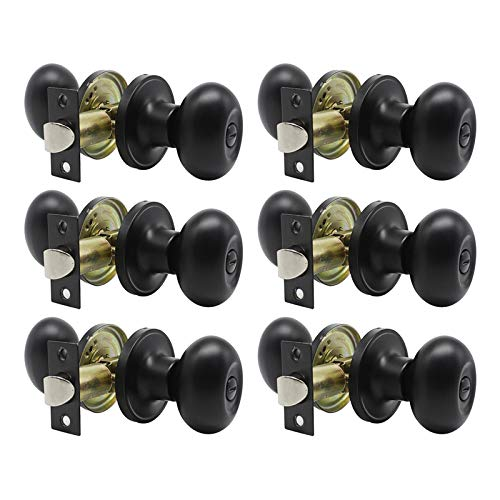 KNOBWELL 6 Pack Oval Style Privay Door Knob Privacy Bed and Bath Lockset, Matte Black, Keyless Door Knob for Bedroom/Bathroom Interior Door Knobs