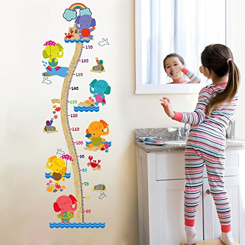 MIYAA Kinder Messlatte,Cartoon Beach Elefanten Baby Kind Höhenmessung Herrscher Wand Aufkleber Dekoration Kinderzimmer Kindergarten Wachstum Chart und Dekoration