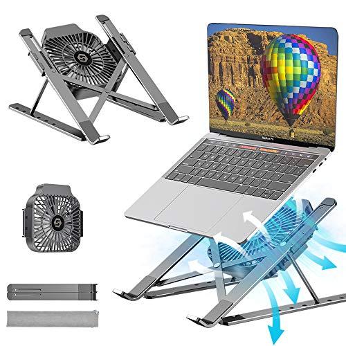 Supporto PC Portatile Tappetino di Raffreddamento, Angolazione Regolabile Portatile Pieghevole PC Stand, Alluminio Ventilato per MacBook PRO Air iPad Huawei Matebook D HP Altri Laptop Tablet iPad
