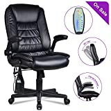 LENTIA Massage Office Chair High Back Executive Chair Ergonomic Leather Computer Desk Chair with Thickened Headrest, 6 Vibrating Point, 5 Vibration Program Modes, Black (Black)