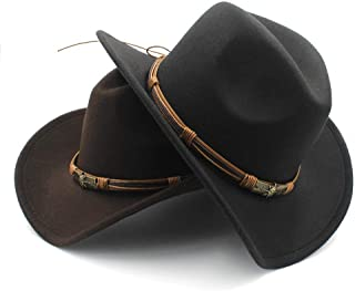 SHENTIANWEI Unisex Men Women Wool Western Cowboy Hat with Punk Belt Pop Wide Brim Church Hat Sombrero Hat Outdoor Hat Size 56-58CM