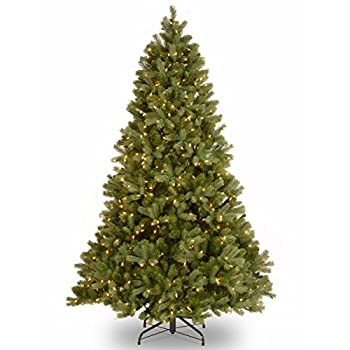 National Tree Company  Feel Real  Pre-lit Artificial Christmas Tree | Includes Pre-strung White Lights PowerConnect and Stand | Downswept Douglas Fir - 7.5 ft