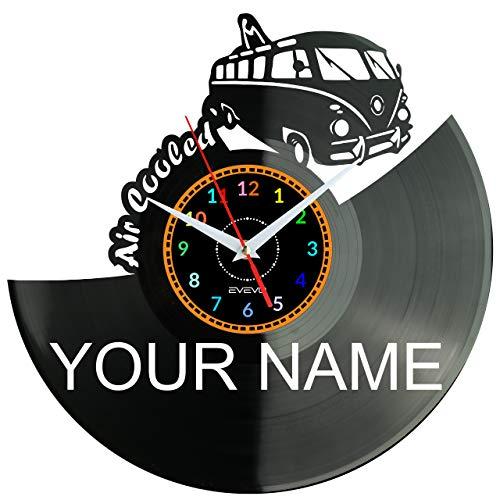EVEVO VW VOLKSVAGEN - Orologio da parete in vinile, stile retrò, grande orologio, decorazione per la casa, idea regalo
