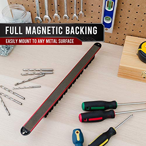PD Magnetic Screwdriver Organizer, Tool Tray Holder Rack, Premium Ultra Strong Magnet   Holds Screwdriver sets, Drill Bits, Nail Sets (Red)