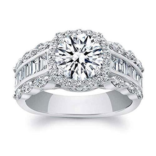 UINGKID Schmuck Damen Ring Wunderschöne und großzügige kreative Diamant Quadrat Zirkon Männer und Frauen Ring Schmuck