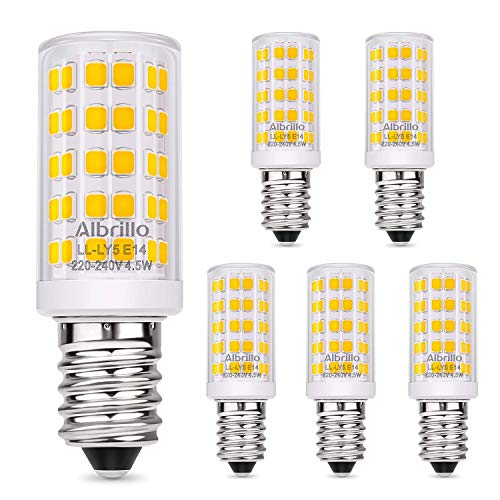 Albrillo E14 LED lamp warm wit 3000K met 64 SMD LED's, 4.5W / 400LM gloeilampvervanging 50W halogeenlampen, 360 ° stralingshoek voor kroonluchter, wandlamp, koelkast en afzuigkap, 5 stuks