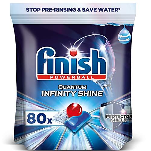 Finish Powerball Quantum Infinity Shine, pastillas para el lavavajillas con protección para la vajilla - Formato 80 pastillas