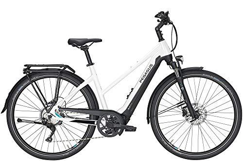 Pegasus Premio Evo 10 Lite (500 Wh), cambio a 10 marce, bicicletta da donna, trapezoidale, modello 2020, 28 pollici, colore: bianco metallizzato/nero opaco, Bianco / nero opaco, 55 centimetri