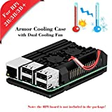 MakerHawk Raspberry Pi 2B / 3B / 3B + Armor Case, Caja de Metal con Doble Ventilador de enfriamiento, aleación de Aluminio, disipador térmico Incorporado, protección contra la radiación y el óxido