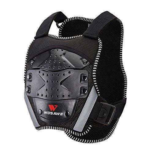 Kindermotorfiets vest borstpantser veiligheidsuitrusting uitrusting vest rugbescherming wervelkolom voor rijden skiën snowboard met rugbeschermers (zwart)