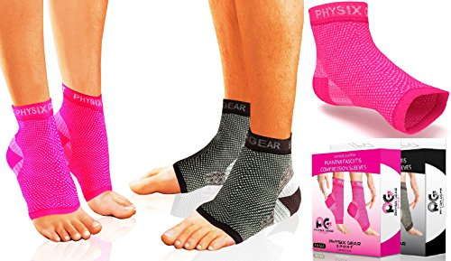 Physix Gear Plantar Fasciitis Socks with Arch Support for Men & Women - Best 24/7 Compression Foot Sleeve for Heel Spurs, Ankle, PF & Swelling - Holds Shape & Better Than a Night Splint - Pink S/M