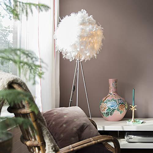 QAZQA Modern Romantische Stehlampe weiß - Feder/Innenbeleuchtung/Wohnzimmerlampe/Schlafzimmer Metall/Textil Rund LED geeignet E27 Max. 1 x 40 Watt