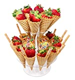 Jusalpha Clear Acrylic Ice Cream Cone/Sushi Hand roll Stand Holder (Capacity: 24)