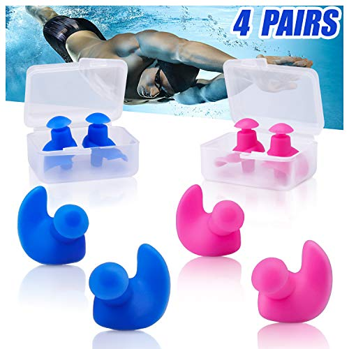 Swimming Ear Plugs, 4 Pairs Waterproof Reusable Silicone Ear Plugs, Swimming Ear Plugs for Adults Kids, for Swimmers Showering Bathing Surfing and Other Water Sports … (Blue+Pink)