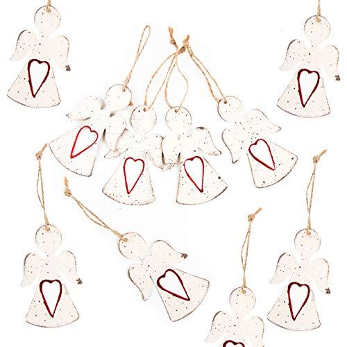 10 Ciondoli Decorativi In Metallo A Forma Di Angelo Bianco Con Cuore Rosso, 8 Cm, Stile Shabby Chic, Da Appendere