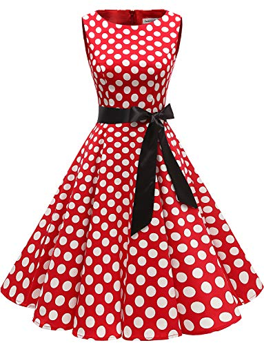 Gardenwed Damen 1950er Vintage Cocktailkleid Rockabilly Retro Schwingen Kleid Faltenrock Red White Dot 2XL