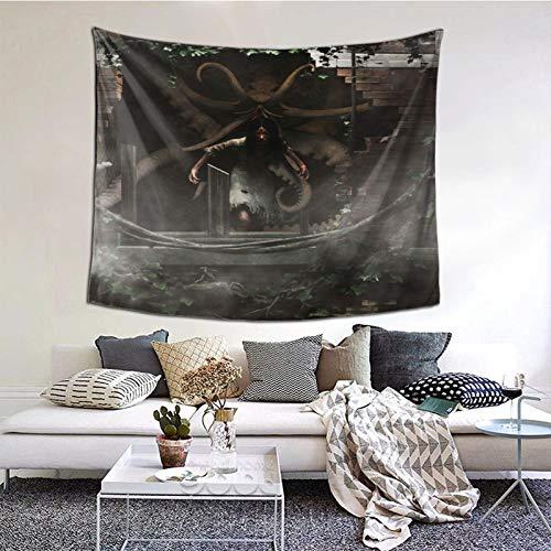 ELIENONO Tapiz para Colgar en la paredDiablo y Monstruo en la casa encantada,Tapiz de Pared con decoración para el hogar,Sala de Estar,Dormitorio decoración,(152x127cm)