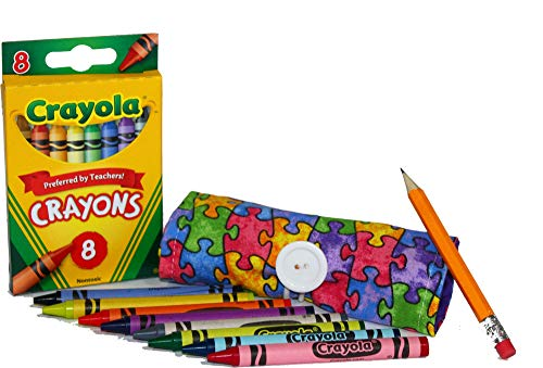 Kids Color Crayons, Minnie Markers, Pen & Pencil Roll Caddy Holder Wrap Case Organizer for 9 to 18 Colored Crayons, Keep Kids Organized, Inspired, & Entertained 8 Count Crayons Included! USA Handmade