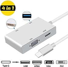 weton Type C to HDMI Adapter, USB C 3.1 to HDMI VGA DVI USB 3.0 (Thunderbolt 3 Compatible) USB C HUB Video Converter,Multi Monitors Adapter for MacBook/Chromebook Pixel to HDTV/Monitors/Projector