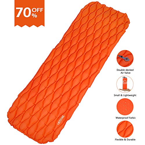 LATTCURE Sleeping Bag, Comfort Portable Lightweight Envelope Sleeping Bag with Compression Sack for Camping,Hiking,Backpacking,Traveling and Other Outdoor Activities -Single,Orange+Grey,(75'+12') x33