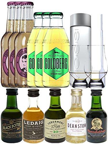 Whisky Probierset Black Bottle 5cl, Ledaig 10y 5cl, Tobermory 10y 5cl, Deanston 12y 5cl, Bunnahabhain 12y 5cl, 3 x Thomas Henry 0,2L Ginger Ale, 3 x Goldberg 0,2L Ginger Ale, 500ml Voss Wasser Still, 2 Glencairn Gläser und Einwegpipette