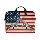 LZXO - Bolsa para portátil de 15 Pulgadas con Correa para Hombres y Mujeres, diseño Vintage de Bandera Estadounidense