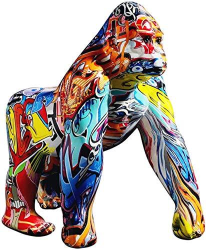 ZHIFENGLIU Bunte Gorilla-Figuren, abstrakte Harz-Affen-König-Kong-Statuen, handgemalte Affen-Wildtierskulpturen für Wohnzimmer-Hauptdekoration-EIN