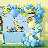 Juhe 103pcs Winnie Balloon Garland Arch Kit Blue and Yellow Balloons for birthday Wedding Baby Shower Party Decoration