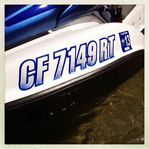 """Stiffie Techtron Transparent Clear/White 3"""" Alpha-Numeric Registration Identification Numbers Stickers Decals for Boats & Personal Watercraft"""
