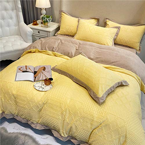 Shinon bedding sets queen with comforter and sheets,Winter double-sided velvet high-end carved French velvet thick duvet cover extra large bedding set-E_1.8m bed (4 pieces)
