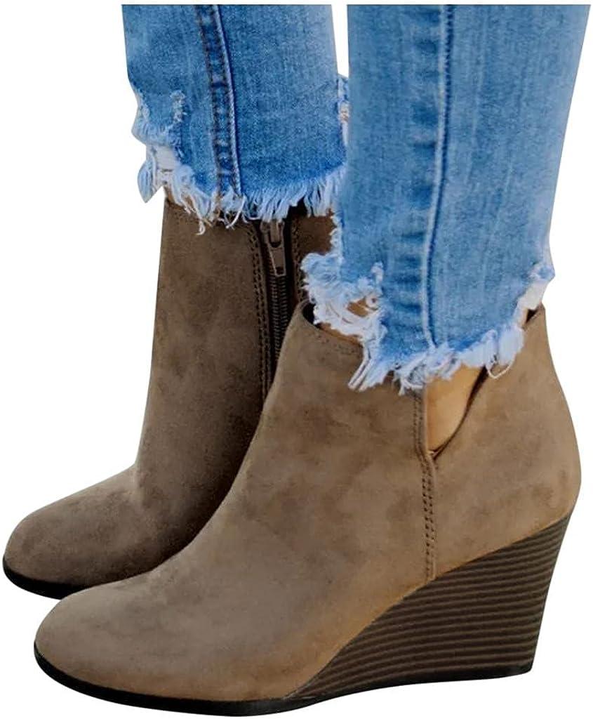 Gibobby Cowboy Boots for Women Low Heel,Women's Retro Wedge Dressy Ankle Booties Comfortable Zipper Platform Boots